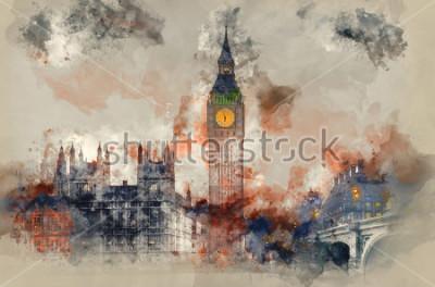 Quadro Pittura ad acquerello di Big Ben e Parlamento durante il tramonto invernale.