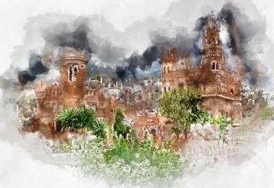 Quadro pittura ad acquerello digitale di un castello Colomares. Castello dedicato alla esploratore e navigatore Cristoforo Colombo. città Benalmadena. Provincia di Malaga. Andalusia. Spagna
