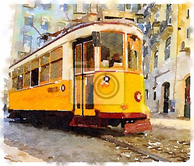 Quadro pittura ad acquerello digitale di un tradizionale tram giallo d'epoca a Lisbona, in Portogallo, a cavallo attraverso le pittoresche strade. Trasporti attraverso Lisbona.
