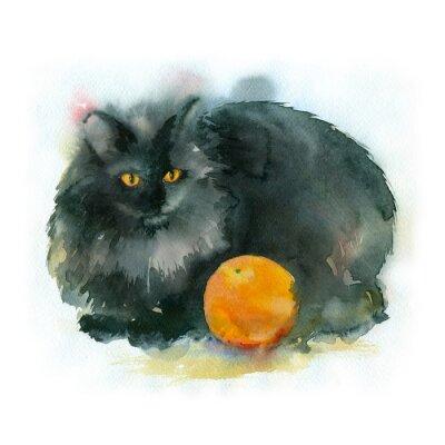 Quadro pittura ad acquerello. Gatto nero con colore arancione.