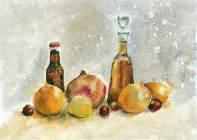 Quadro pittura ad acquerello. Natura morta con arance, melagrana e bottiglie su sfondo vintage.