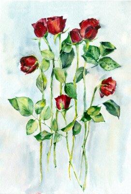 Quadro pittura ad acquerello. Rose rosse con foglie verdi su un lungo steli.