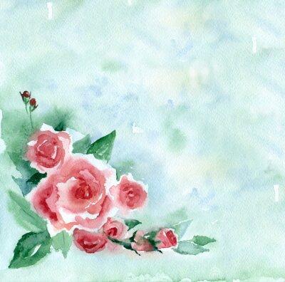 Quadro pittura ad acquerello. Vintage mazzo di rose rosse su uno sfondo sfocato verde.