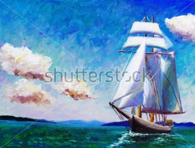 Quadro Pittura ad olio - Barca a vela
