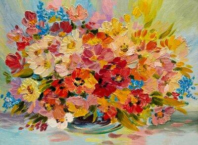 Quadro Pittura ad olio - colorato mazzo di fiori d'estate su uno sfondo astratto