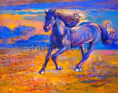 Quadro Pittura ad olio di un cavallo in corsa. Arte Moderna