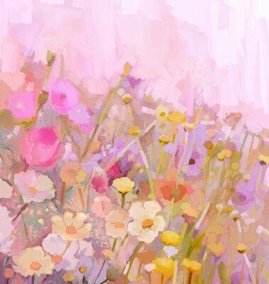 Quadro Pittura ad olio Fiori di campo, stile morbido color-sfocatura