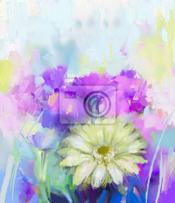 Pittura ad olio fiori gerbera dipinti da parete • quadri beatiful ...