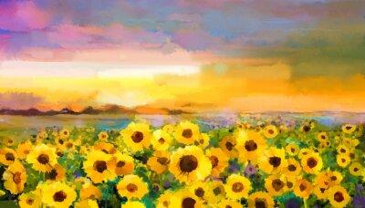 Quadro pittura ad olio giallo-girasole dorato, Daisy fiori nei campi. Tramonto paesaggio prato con fiori di campo, collina e il cielo arancione, sfondo blu violetto. estate vernice della mano floreale stile