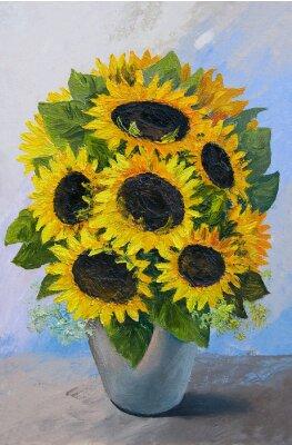 Quadro Pittura ad olio - mazzo di girasoli in un vaso su uno sfondo astratto, bellissimi fiori