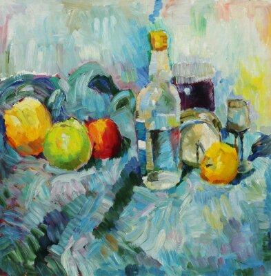 Quadro Pittura ad olio. Natura morta con bottiglia e mele sullo sfondo di tessuto