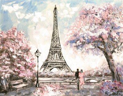 Quadro Pittura ad olio, Street View di Parigi. paesaggio Tender, primavera