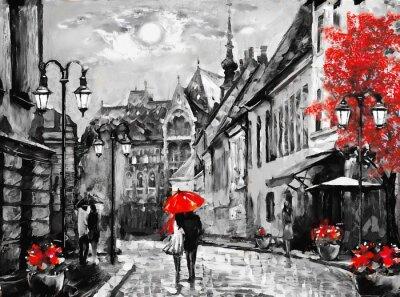 Quadro Pittura ad olio su tela europea città. Ungheria. Vista sulla strada di Budapest. Opera d'arte. Persone sotto un ombrello rosso. Albero. Nigrht e la luna.