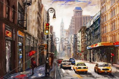 Quadro pittura ad olio su tela, New York street view, donna sotto un ombrello rosso, taxi giallo, opera modern, città americana, illustrazione New York