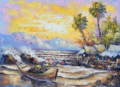 Quadro Pittura ad olio su tela - Vecchia barca da pesca nel porto