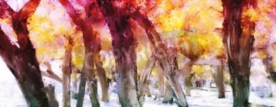 Quadro Pittura astratta della foresta variopinta con foglie gialle in autunno