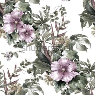 Quadro Pittura dell'acquerello della foglia e dei fiori, modello senza cuciture su fondo bianco