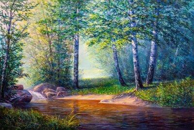 Quadro pittura di paesaggio di cascata