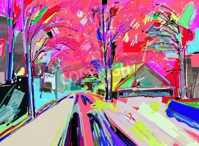 Quadro pittura digitale del paesaggio invernale