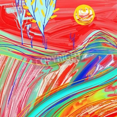 Quadro pittura digitale del paesaggio tramonto rosso, creativo opere d'arte di ispirazione, l'impressionismo moderno, illustrazione vettoriale