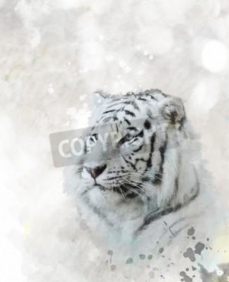 Quadro Pittura digitale di White Tiger testa