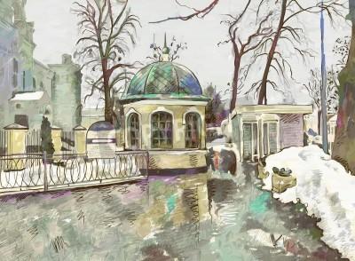 Quadro pittura digitale originale dell'inverno paesaggio urbano Impressionismo Moderno