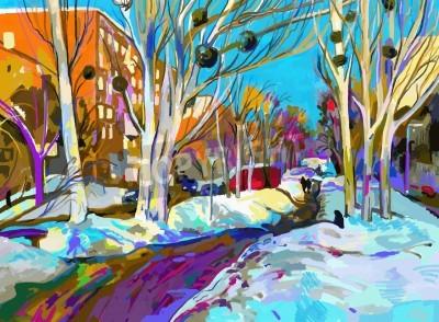 Quadro pittura digitale originale di Paesaggio urbano di inverno. Impressionismo Moderno