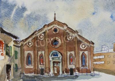 Quadro pittura originale cartolina fasade di Santa Maria delle Grazie a Milano, Italia