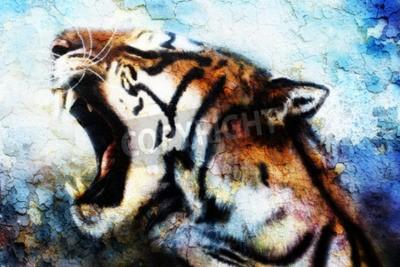 Quadro pittura tigre di Sumatra Roaring