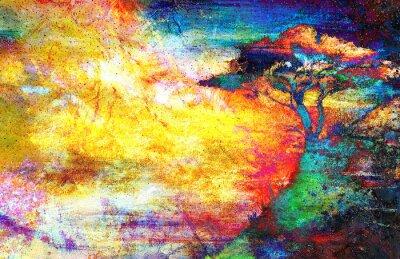 Quadro Pittura tramonto, il mare e l'albero, paesaggio carta da parati, collage colore