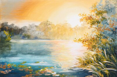Quadro pittura - tramonto sul lago