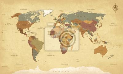 Quadro Planisphère Mappemonde Vintage - Textes en français. vecteur
