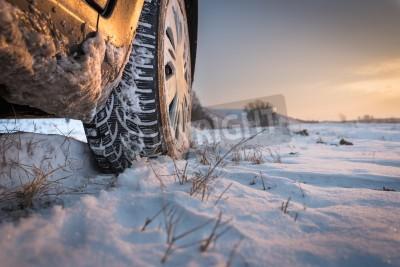 Quadro Pneumatici per auto sulla strada di inverno