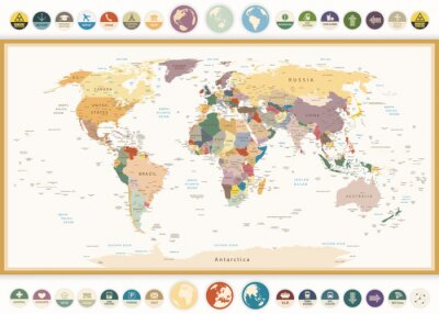 Quadro Political World Map with flat icons and globes.Vintage colors.