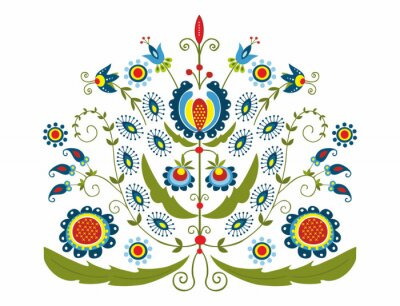 Quadro Polski Wzór z dekoracyjnymi kwiatami
