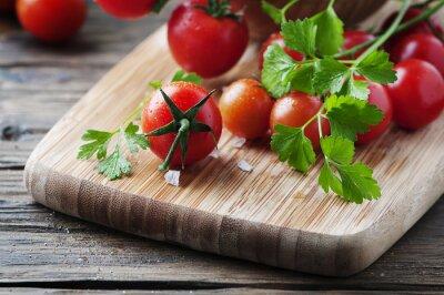 Quadro Pomodoro rosso fresco con prezzemolo verde