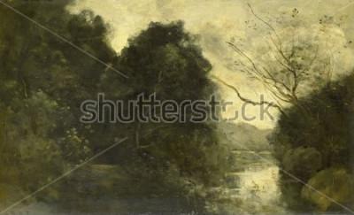 Quadro Pond in the Woods, di Camille Corot, 1840-75, pittura francese, olio su tavola.