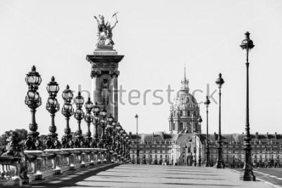 Quadro Pont Alexandre III ponte sul fiume Senna e l'Hotel des Invalides sullo sfondo nella soleggiata mattina d'estate. Ponte decorato con lampade e sculture in stile Art Nouveau. Parigi, Francia