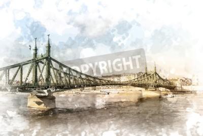Quadro Ponte della Libertà a Budapest, Ungheria. fotografia turistica con Sityscape e il fiume.