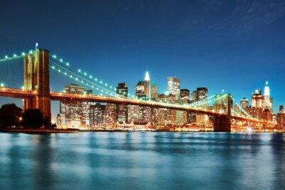 Quadro Ponte di Brooklyn alla notte