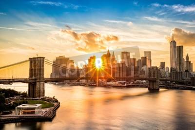 Quadro Ponte di Brooklyn e lo skyline di Lower Manhattan al tramonto visto dal Ponte di Manhattan