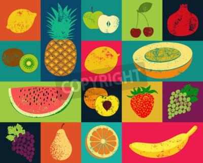 Quadro Pop Art grunge manifesto frutta di stile. Raccolta dei frutti retrò. Vector vintage set di frutti.