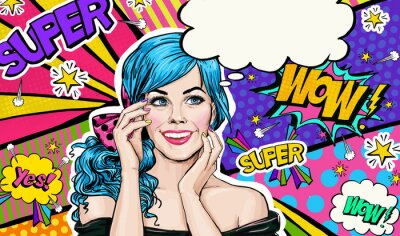 Quadro Pop Art illustrazione di blu ragazza testa Pop art background.Pop Art ragazza. dell'invito del partito. biglietto di auguri di compleanno. manifesto pubblicitario. Donna comica. Ragazza romantica nasc
