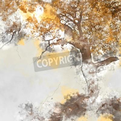 Quadro Poplar tree in autumn season, watercolor background made in computer program