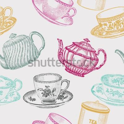 Quadro porcellana da tè vintage. modello senza soluzione di continuità