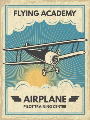 Quadro Poster di aircaft d'epoca. Illustrazione vettoriale