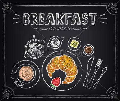 Quadro Poster vintage. Prima colazione. Croissant e caffè Impostato alla lavagna per il design in stile retrò