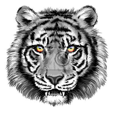 Quadro Potente Tiger con Bright Eyes