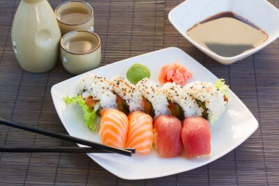 Quadro Pranzo con piatto di sushi