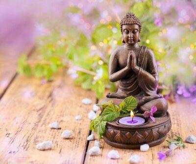 Quadro Pregando Buddha con candela e lavanda